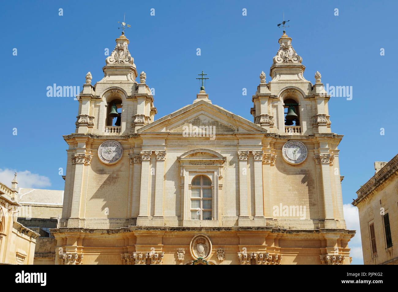 La Cathédrale St Paul à Mdina, Malte Photo Stock