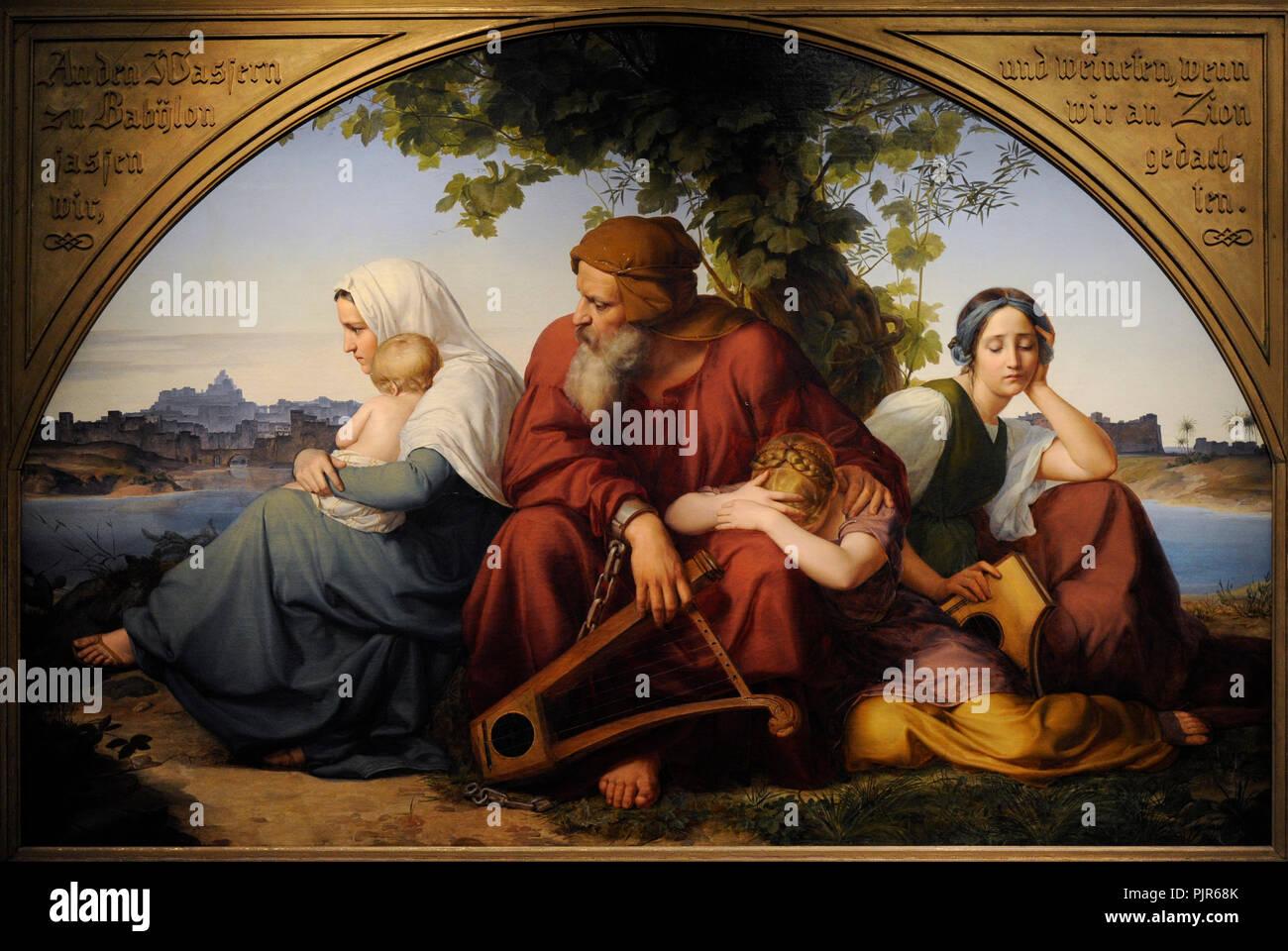 Eduard Bendemann (1811-1889). Peintre allemand. Deuil juifs en exil à Babylone, 1832. Musée Wallraf-Richartz. Cologne. L'Allemagne. Banque D'Images