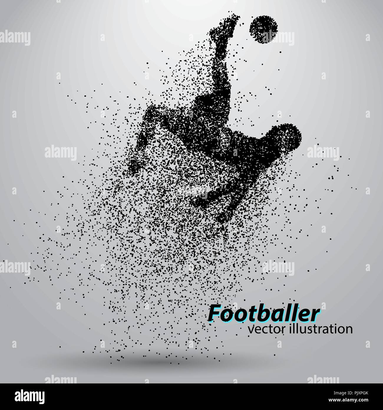 Silhouette d'un joueur de football à partir de particules Photo Stock