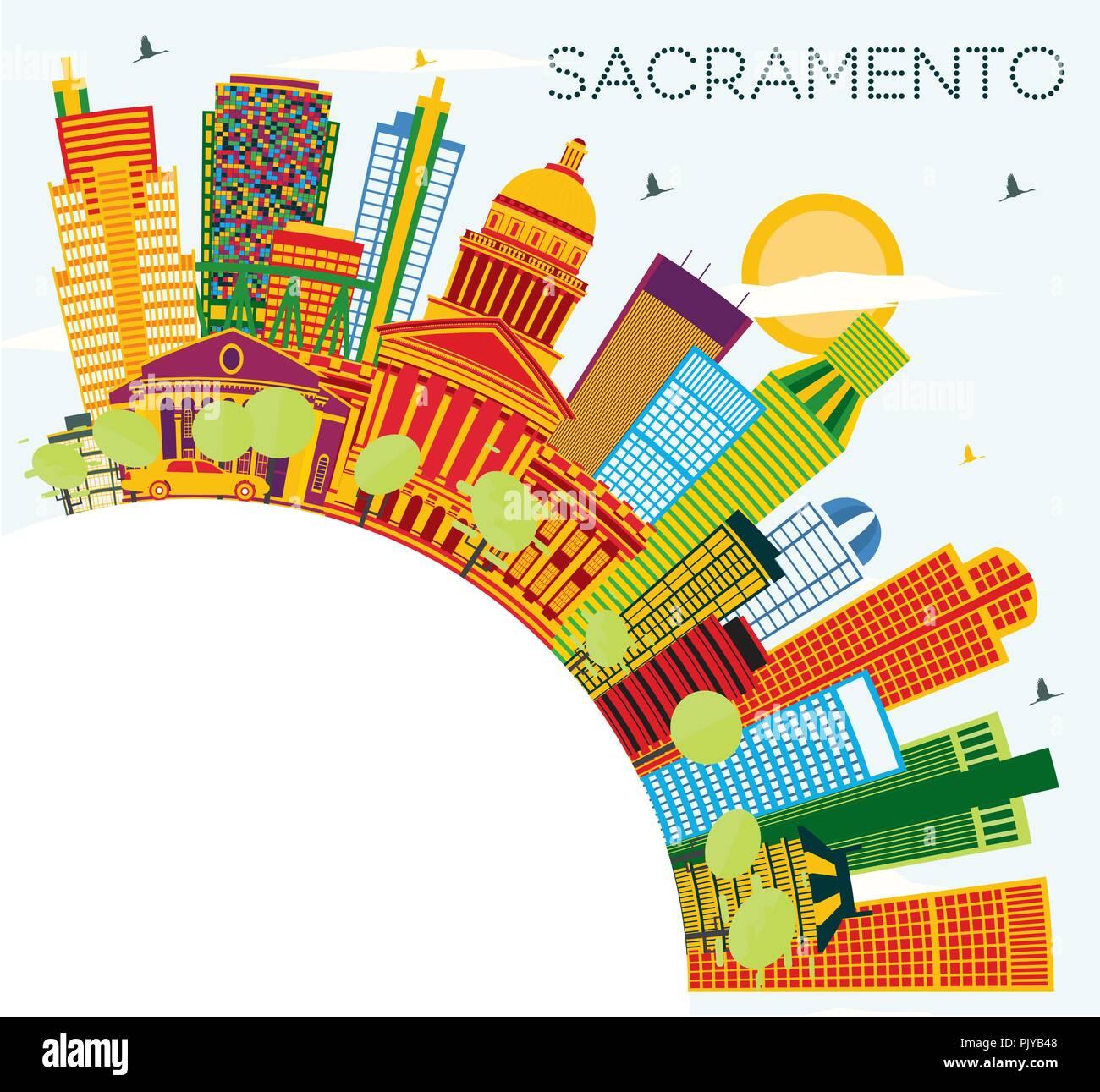 Couleur Avec Bleu Ciel sacramento usa city skyline avec bâtiments, couleur bleu