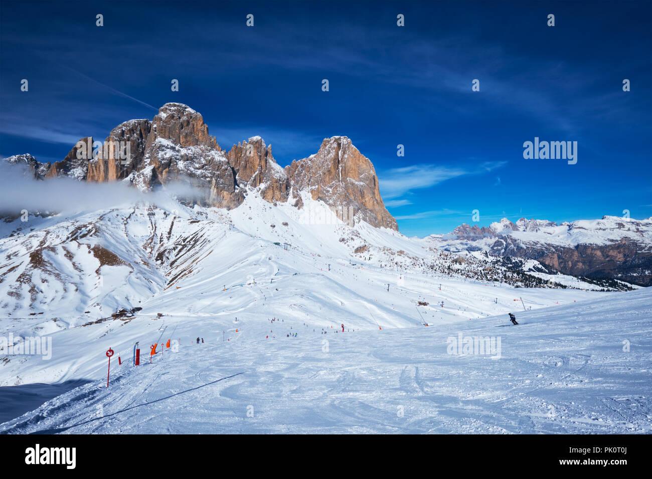 Station de ski à Dolomites, Italie Photo Stock