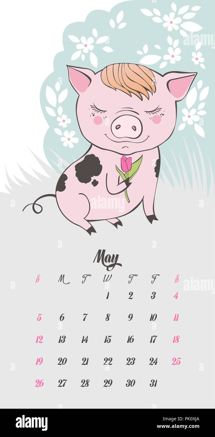 Jeu de caract res de dessin anim cochon mignon symbole chinois de l 39 ann e 2019 bonne ann e - Image de cochon mignon ...