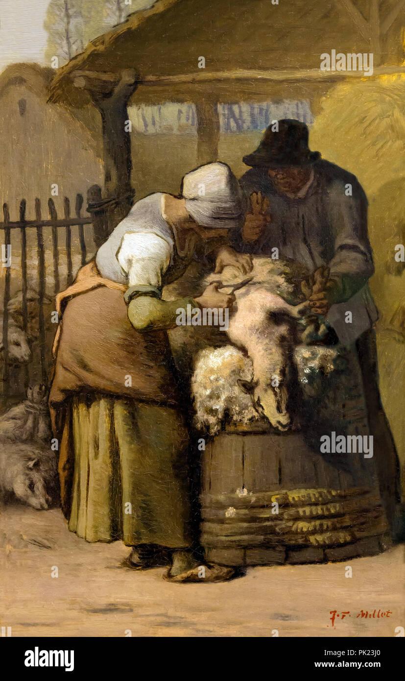 Les tondeurs l, Jean-François Millet, 1857-1861, Art Institute of Chicago, Chicago, Illinois, USA, Amérique du Nord, Photo Stock