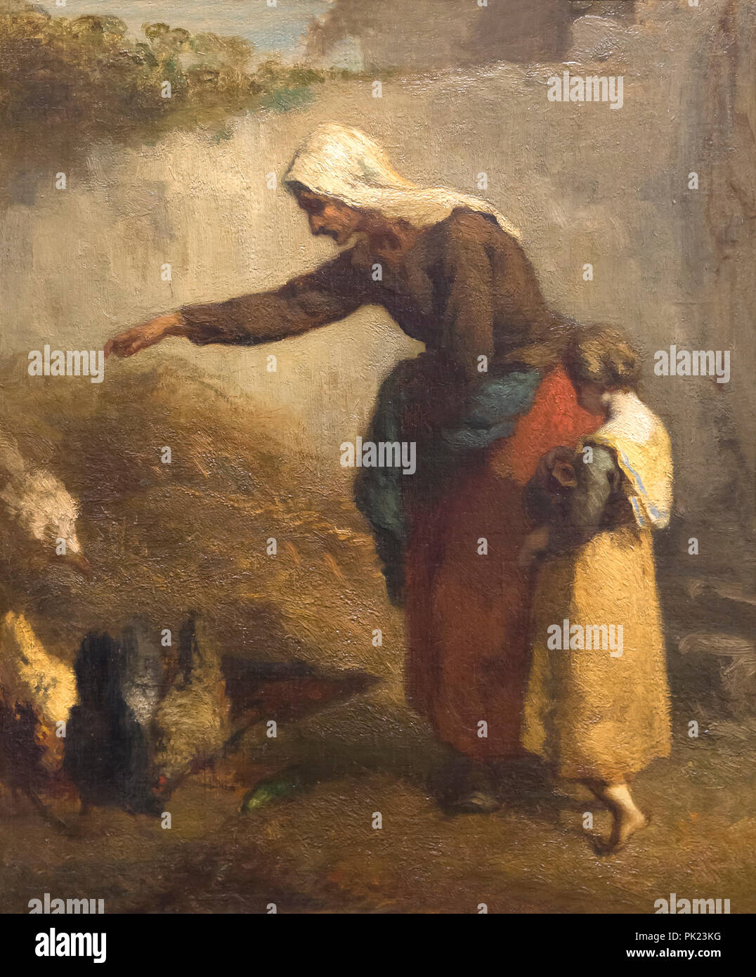 Woman feeding Chickens, Jean-François Millet, 1846-1848, Art Institute of Chicago, Chicago, Illinois, USA, Amérique du Nord, Photo Stock