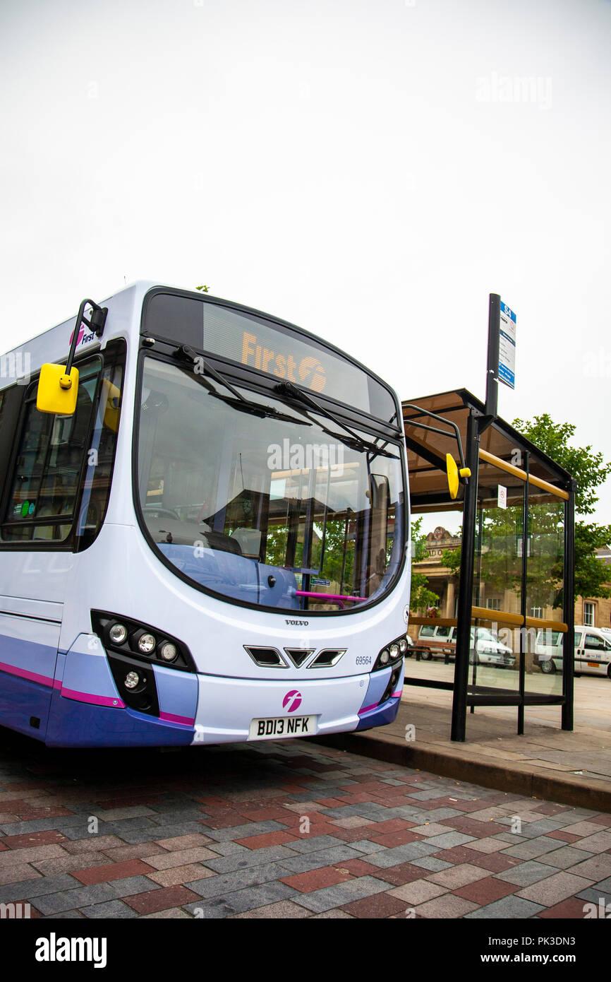 Une première entreprise de Bus volvo bus unique à Huddersfield, West Yorkshire, Angleterre Photo Stock