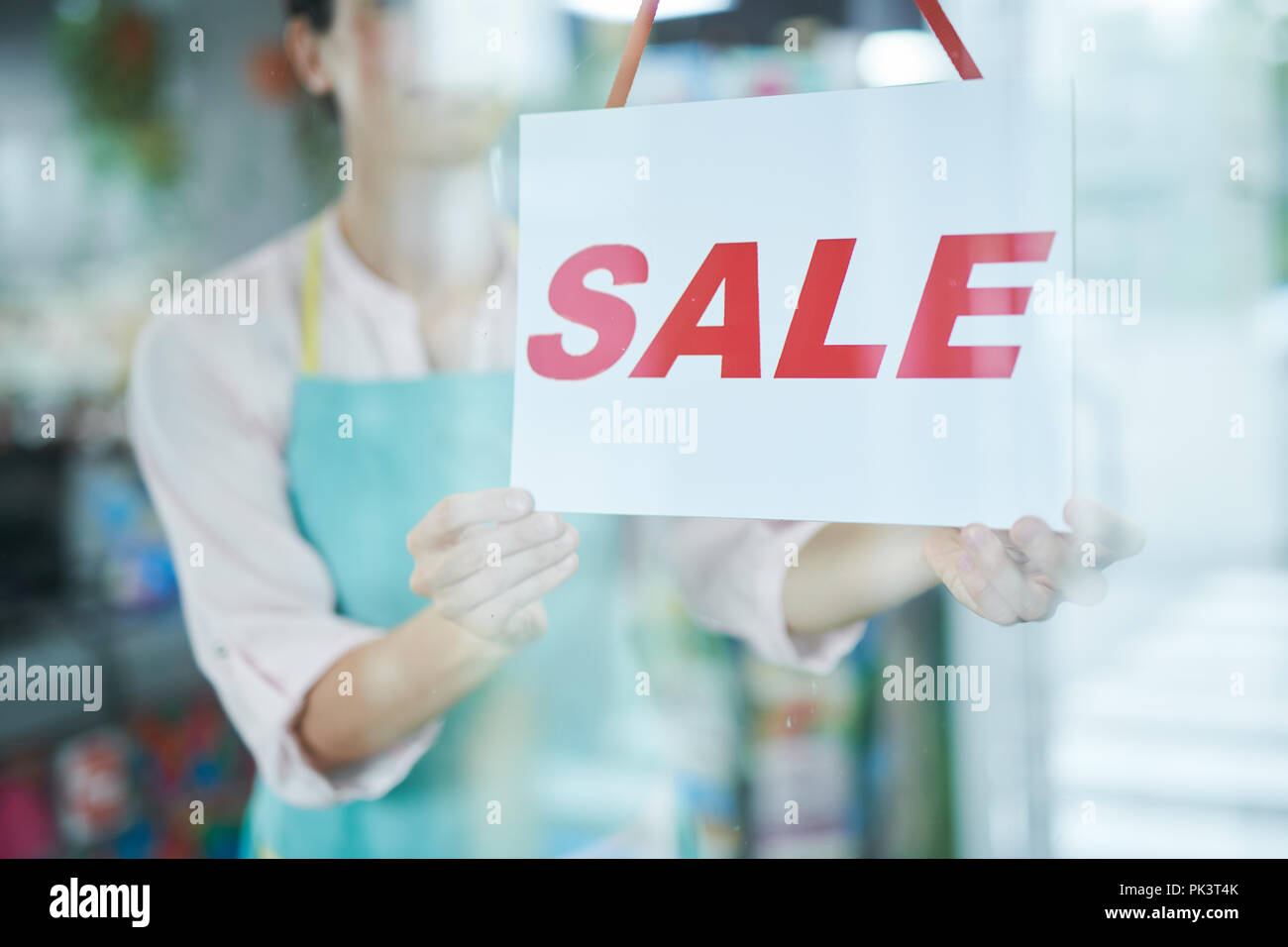 Vente Sign in Shop Photo Stock