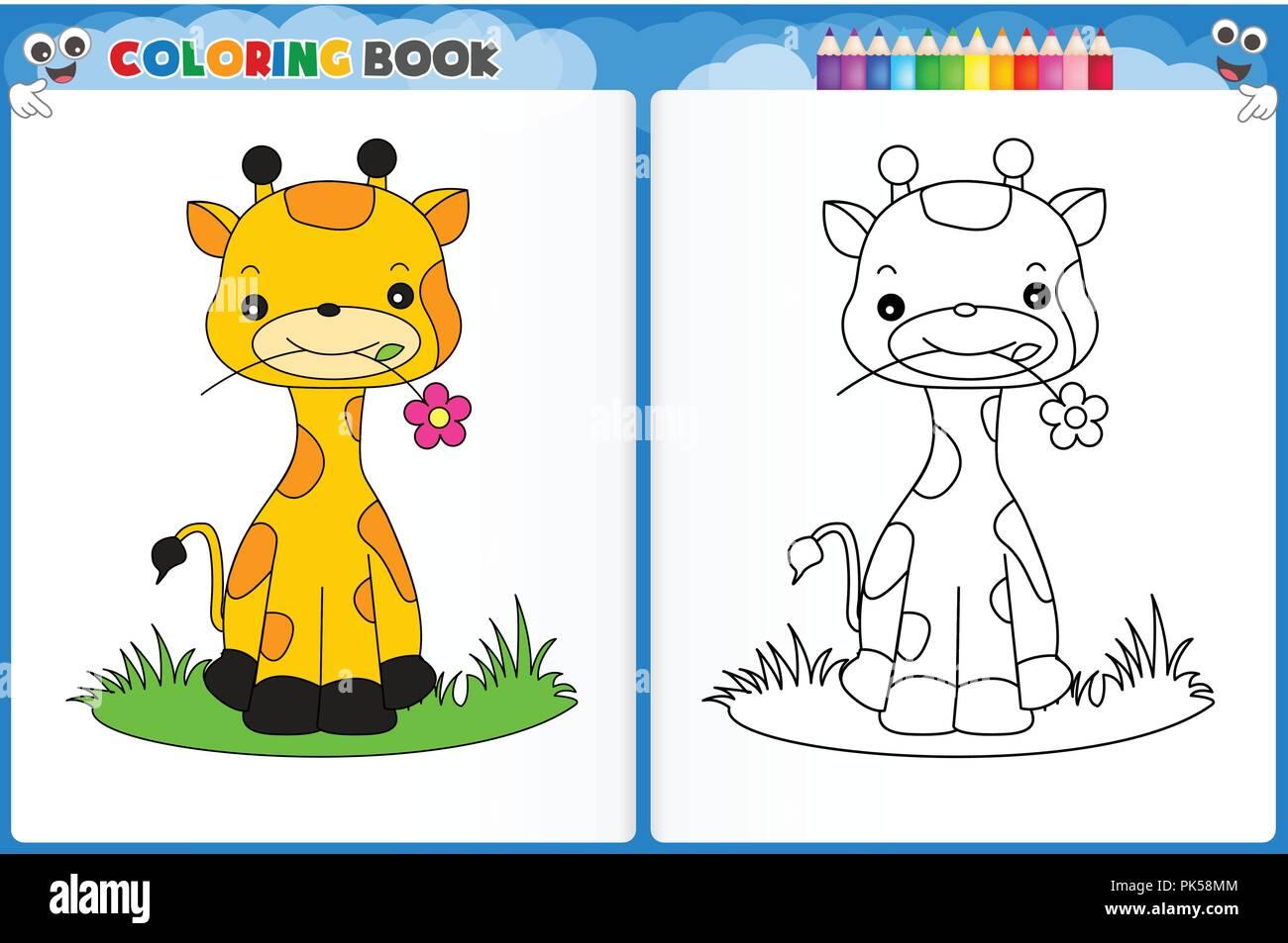 Coloriage Girafe Maternelle.Coloriage Girafe Mignon Avec Echantillon Colore Feuille Imprimable