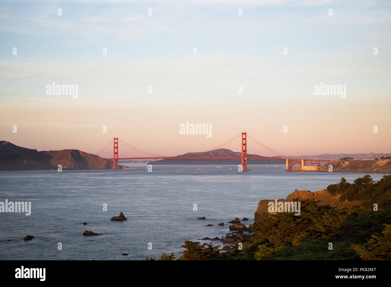 Golden Gate Bridge at Sunset Photo Stock
