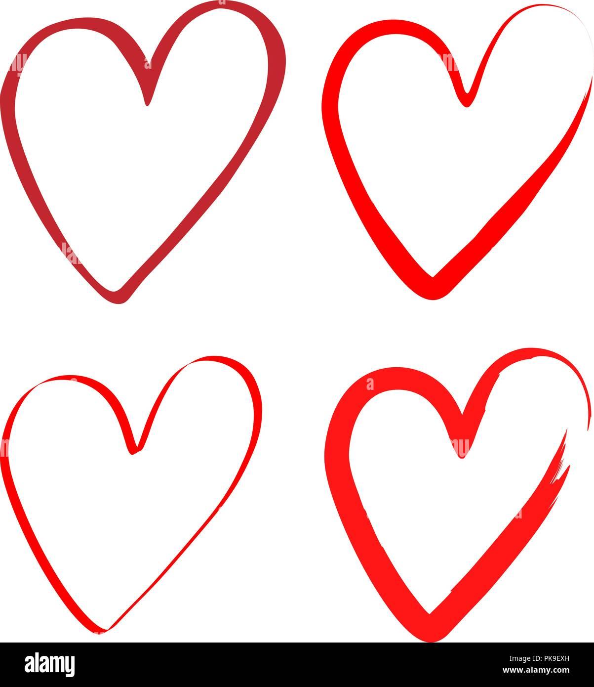 Dessin Avec La Main ensemble de coeurs avec un pinceau, dessin à la main. vector
