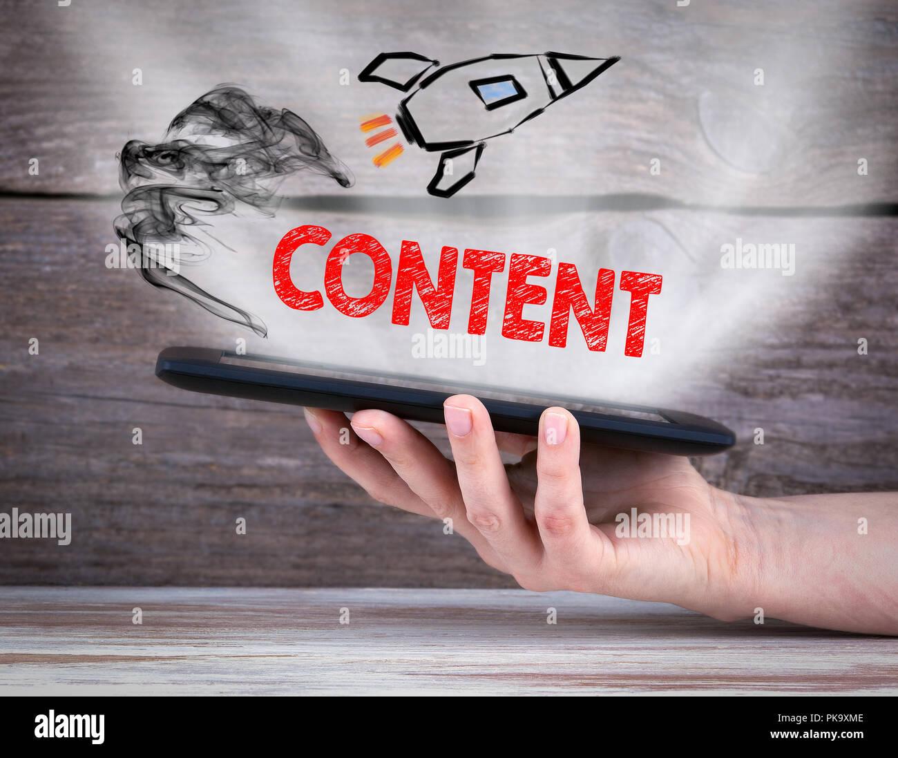 Le contenu et les médias sociaux Photo Stock