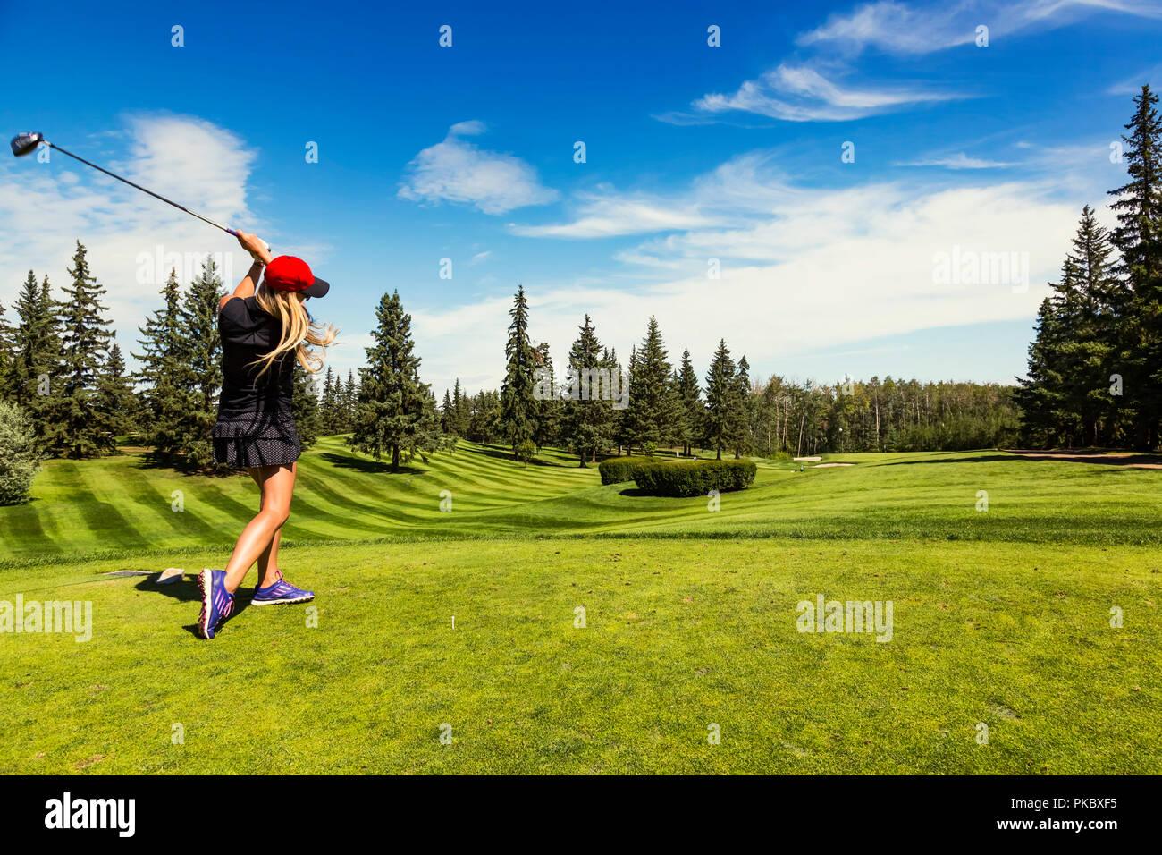 Un golfeur féminin au volant d'une balle de golf vers le bas l'herbe verte d'un terrain de golf avec son chauffeur et la balle en l'air; Edmonton, Alberta, Canada Banque D'Images
