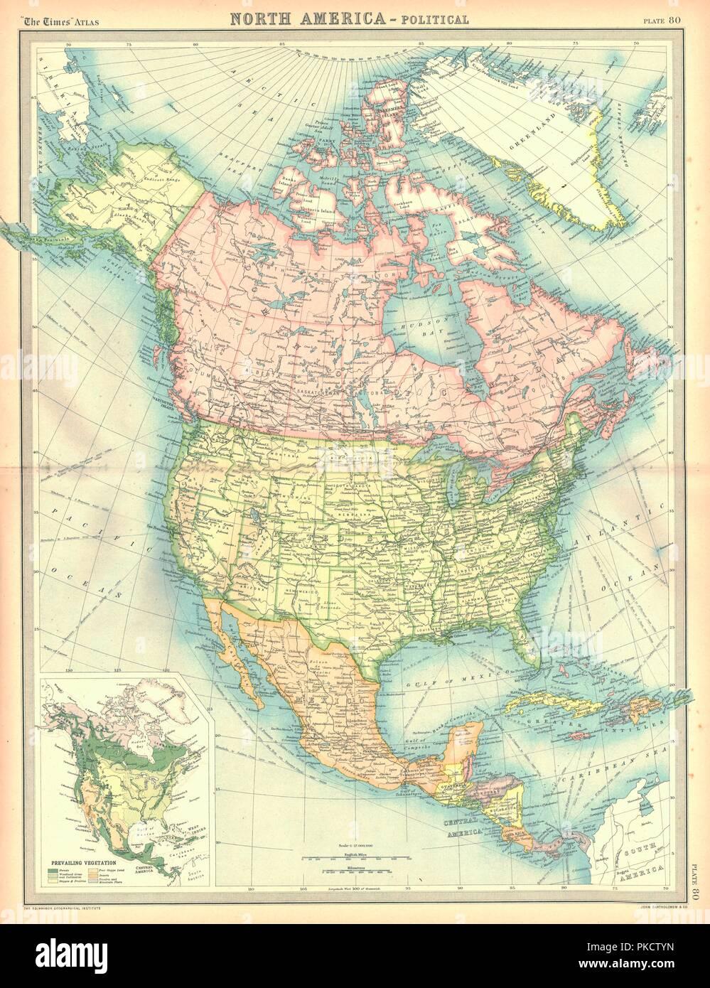 Carte politique de l'Amérique du Nord. Artiste: Inconnu. Banque D'Images