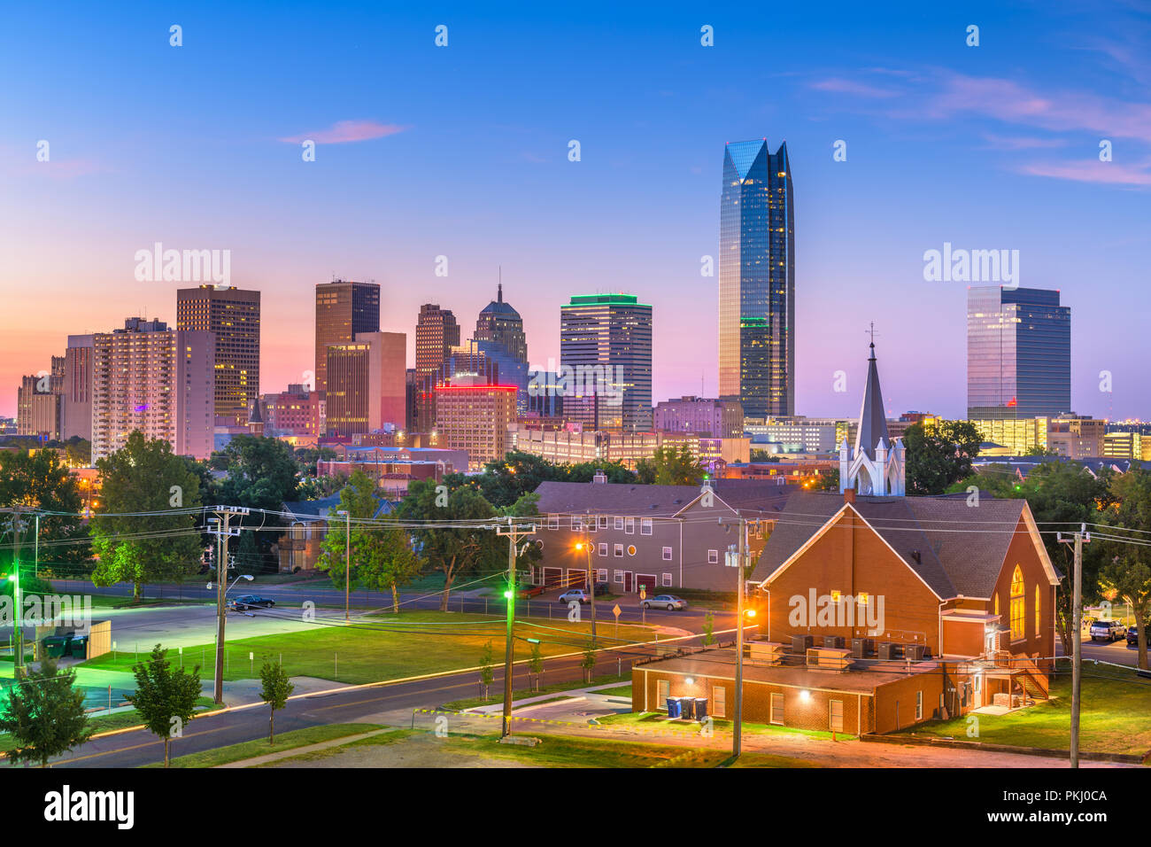 Oklahoma City, Oklahoma, USA Centre-ville au crépuscule. Photo Stock