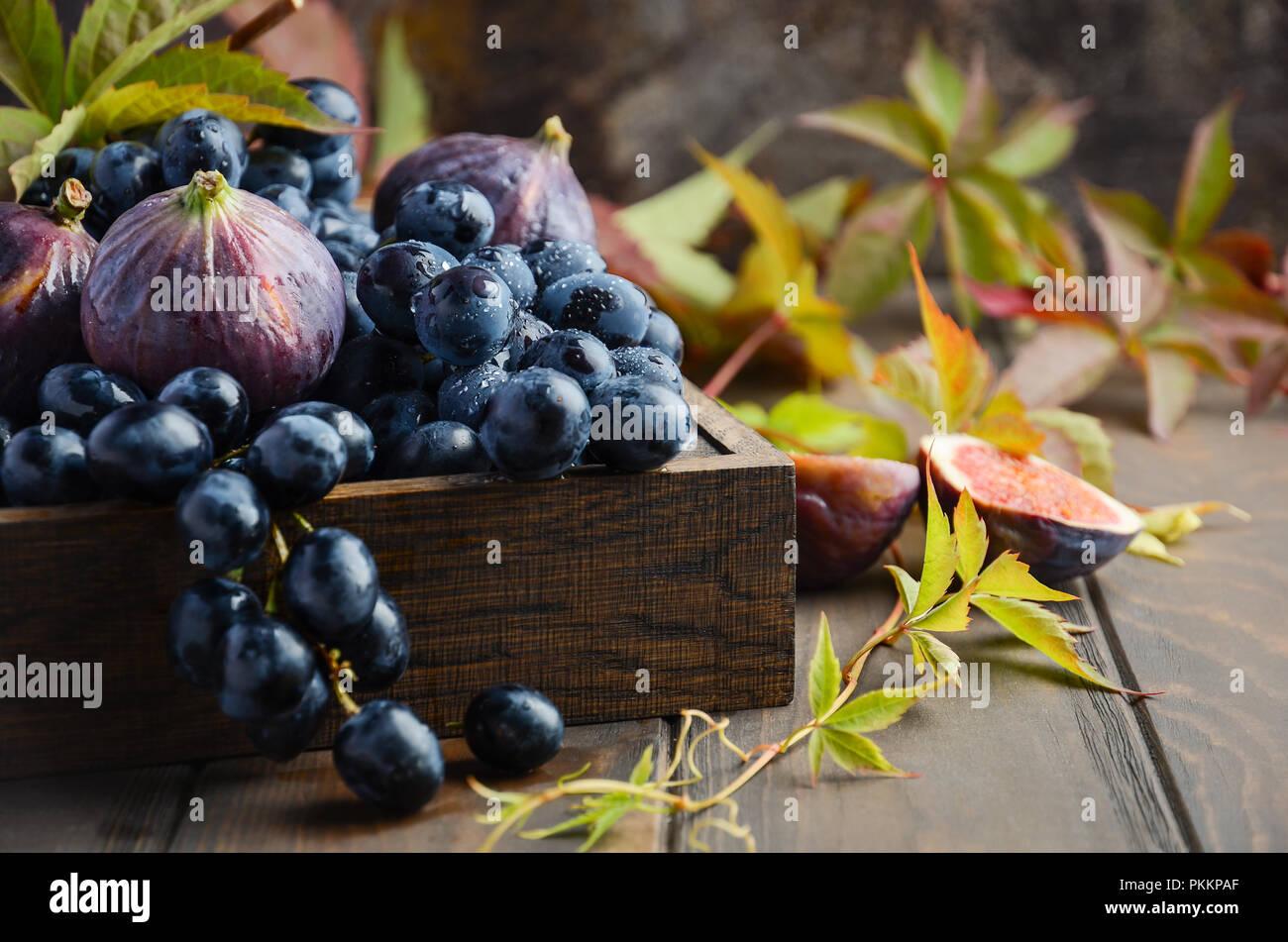 Les raisins noirs frais et figues dans le bac en bois sombre sur la table en bois, Selective focus Photo Stock