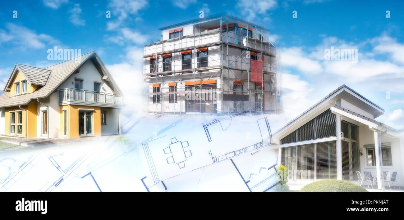 Maisons modernes d'un shell et les plans de construction comme un symbole de la construction ou de l'industrie immobilière. Photo Stock