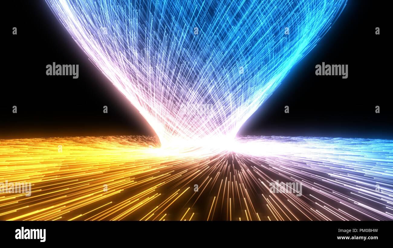 Les particules de fluide avec des sentiers lumineux de l'essaim. 3d illustration. Banque D'Images