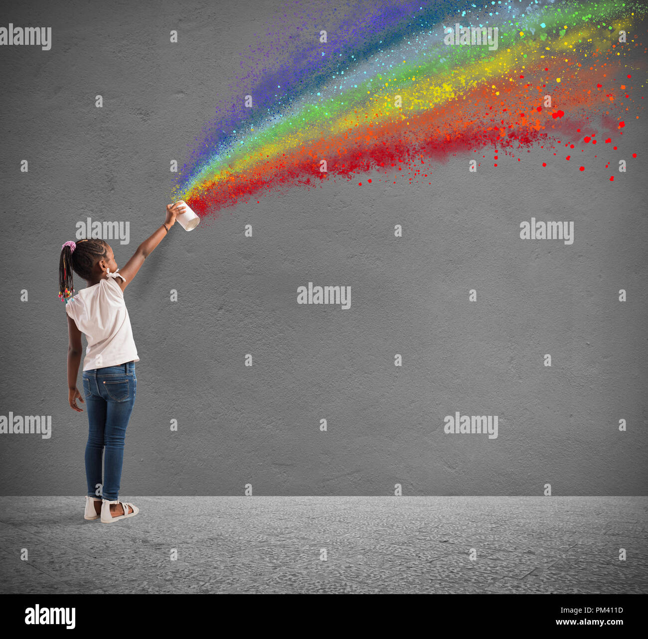 Attire l'enfant avec la couleur de la paix Photo Stock