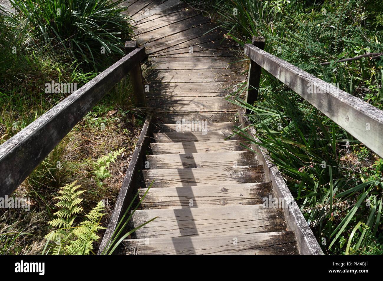 En descendant un escalier en bois à l'extérieur Photo Stock