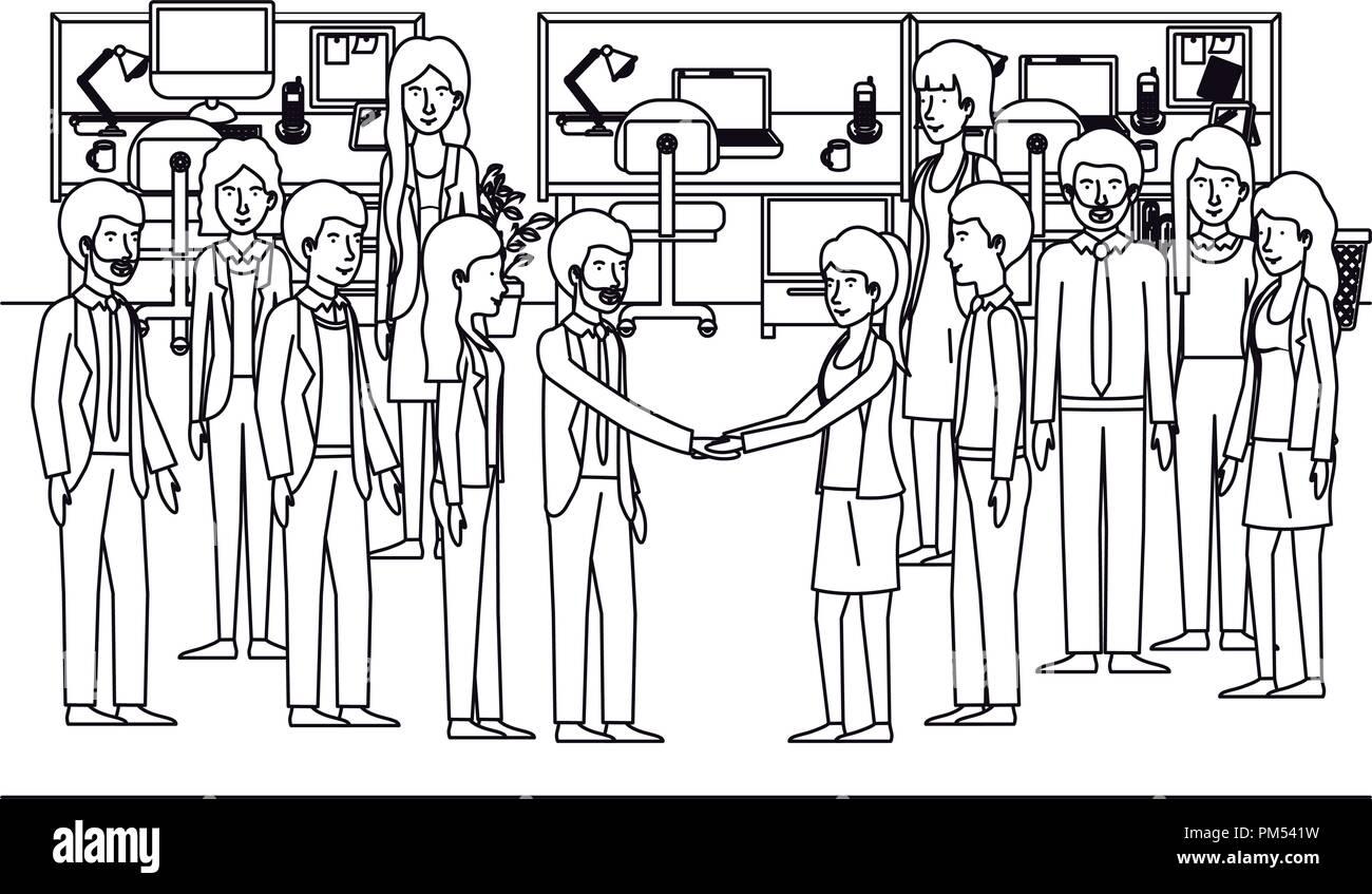 Les gens d'affaires dans le milieu de caractères Illustration de Vecteur