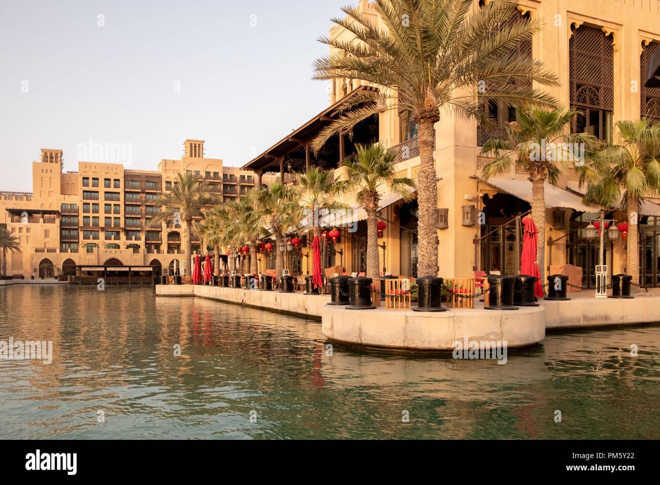 Madinat al Jumairah, Dubaï, Émirats arabes unis Hôtels et Villas fronts Banque D'Images