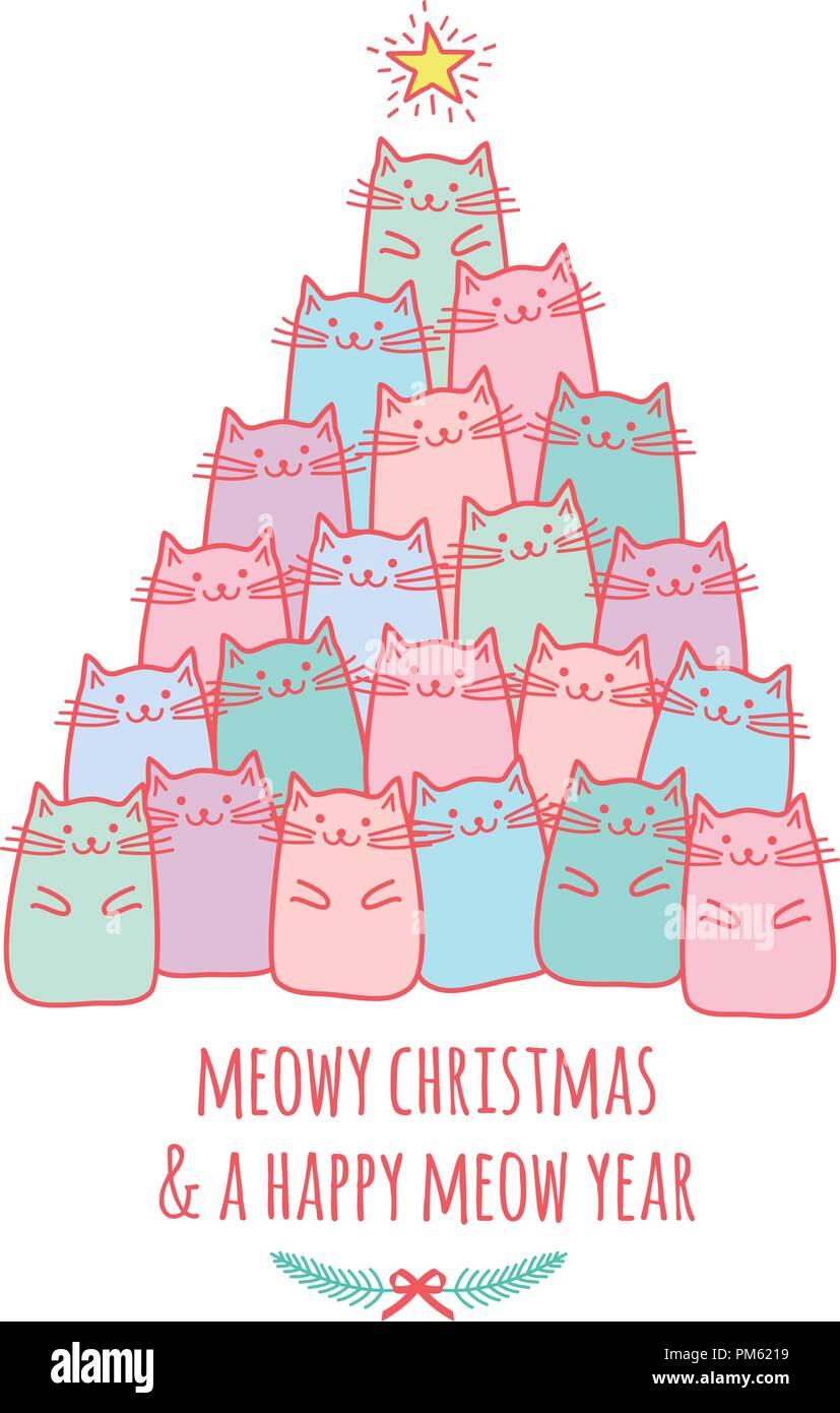 Carte De Noël Avec Cute Kawaii Cats Meowy Noël Dessin