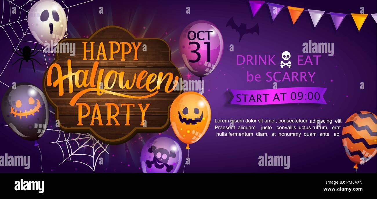 Bannière de bienvenue pour Happy Halloween party avec lettrage sur planche de bois et monster ballons. Invitation et carte de souhaits avec spider et bat pour le web, affiches, flyers, affiches. Vector illustration. Illustration de Vecteur