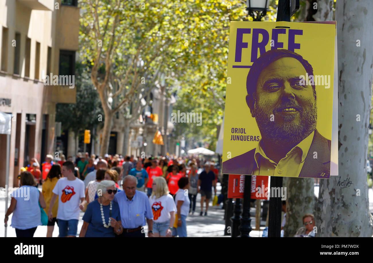 Les citoyens venant de tous autour de la Catalogne à Barcelone célébrer leurs Diada, chaque année un nationalisme catalan cele Photo Stock