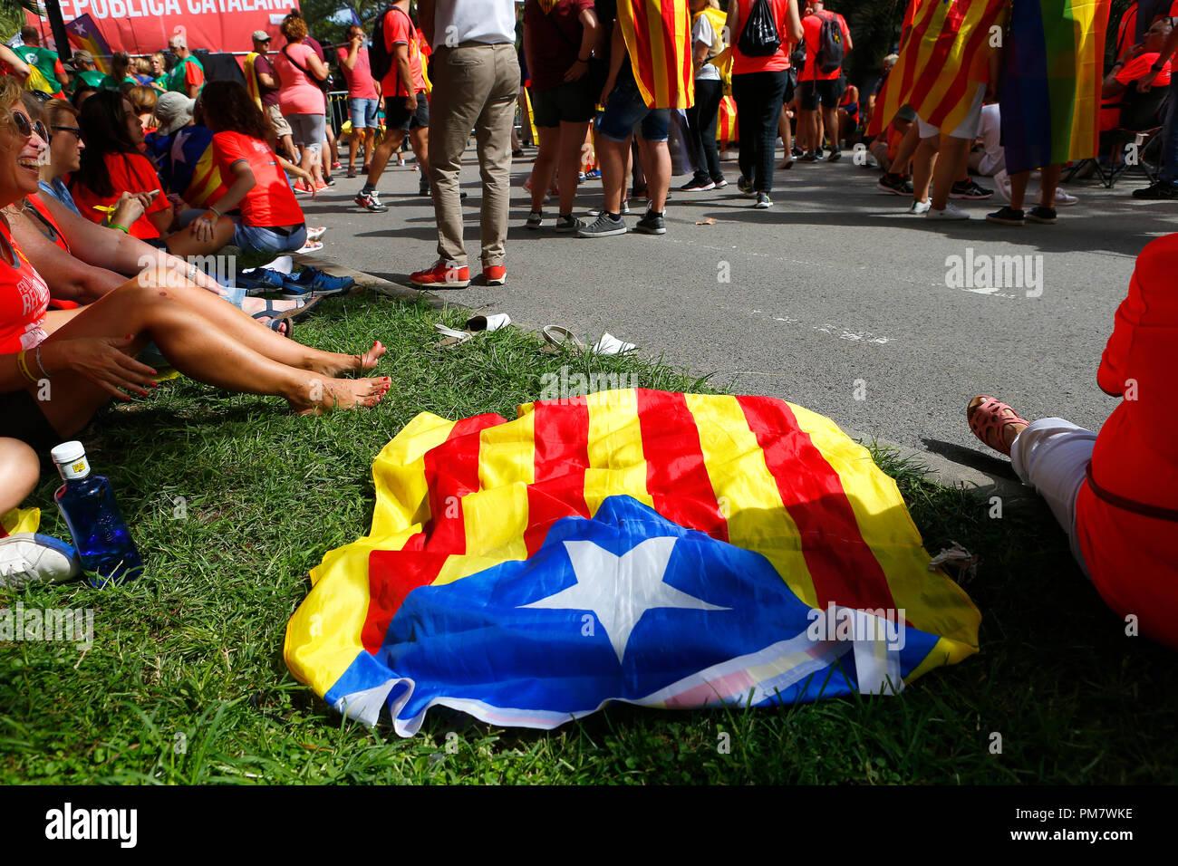 Les citoyens venant de tous autour de la Catalogne à Barcelone célébrer leurs Diada, chaque année un nationalisme catalan jour de fête Photo Stock