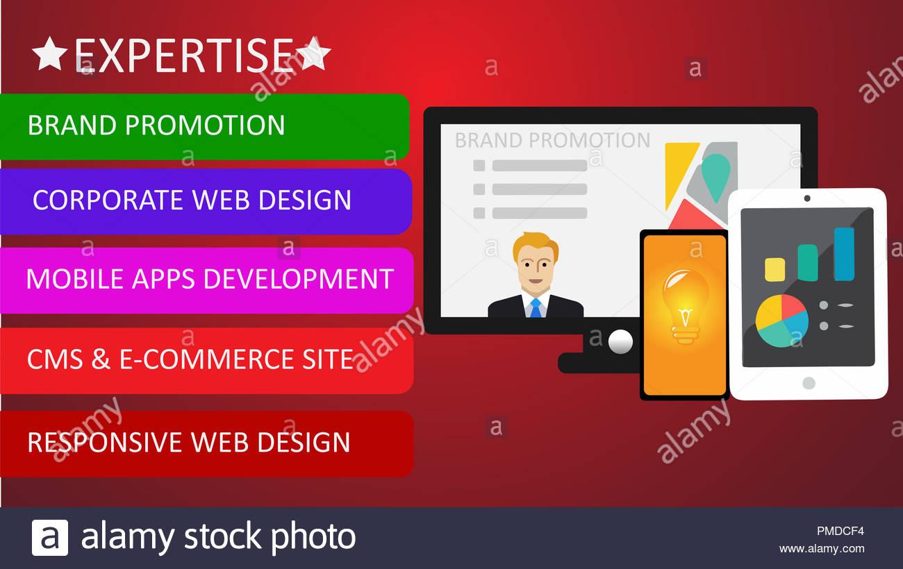 La promotion de la marque de l'expertise avec ordinateur, mobile et de l'onglet Photo Stock