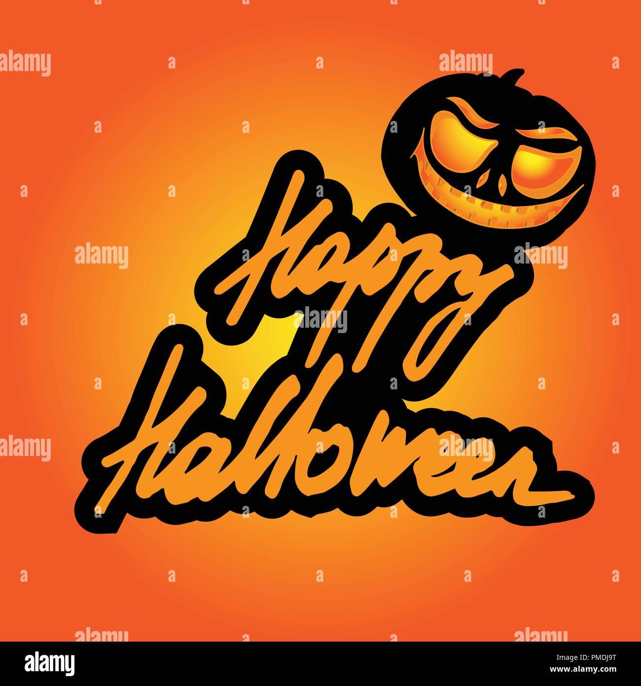 Dessin Anime Halloween Jack.L Inscription D Happy Halloween Le Lettrage Arriere Plan De Dessin Anime Pumpkin Jack O Lantern Et Stylise De L Inscription A Titre D Invitation Image Vectorielle Stock Alamy