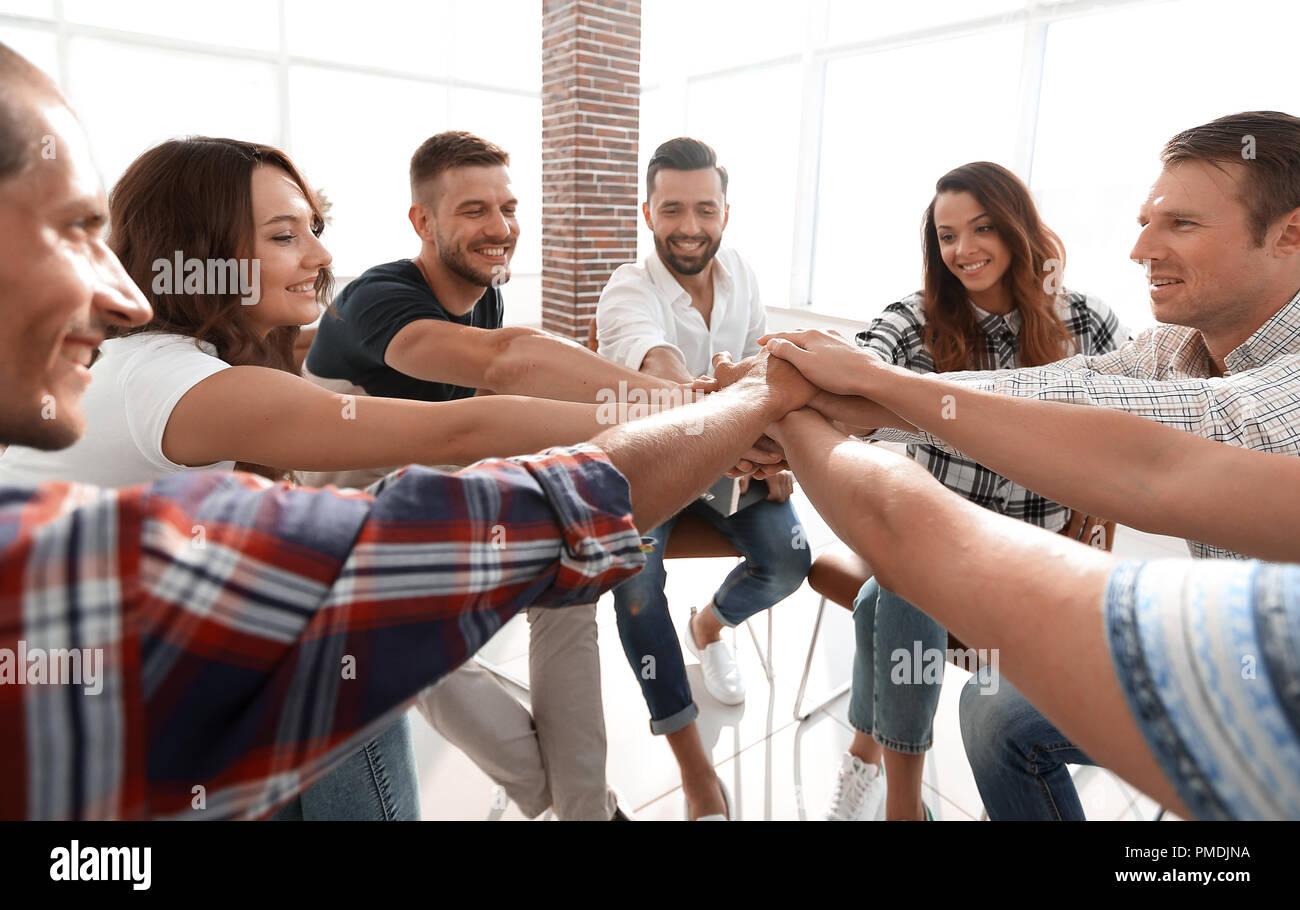 L'équipe d'entreprise unifiée.La notion de travail en équipe Photo Stock