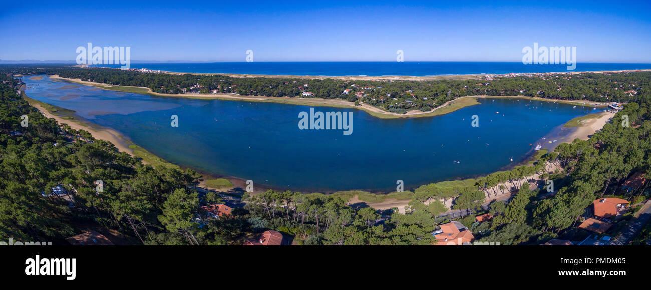 Hossegor (sud-ouest de la France): Vue aérienne du lac maritime et le littoral de la Gironde (non disponible pour la production de cartes postales) Photo Stock