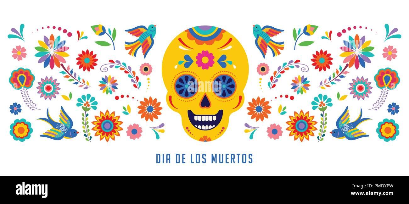 Fête des morts, Dia de los muertos, bannière et carte de souhaits concept avec crâne en sucre. Illustration de Vecteur