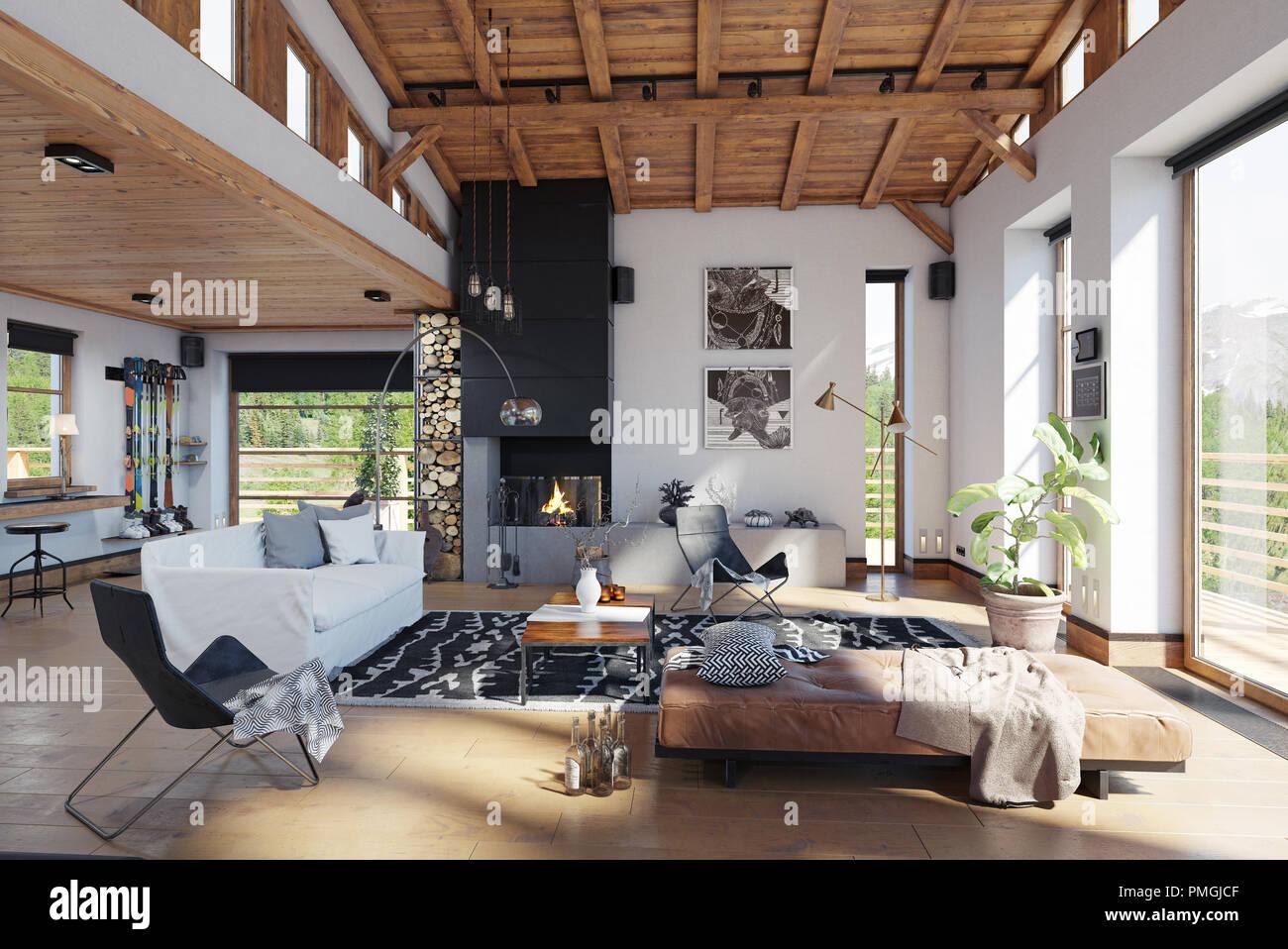 Chalet moderne de l\'intérieur. Le rendu 3D concept design Banque D ...