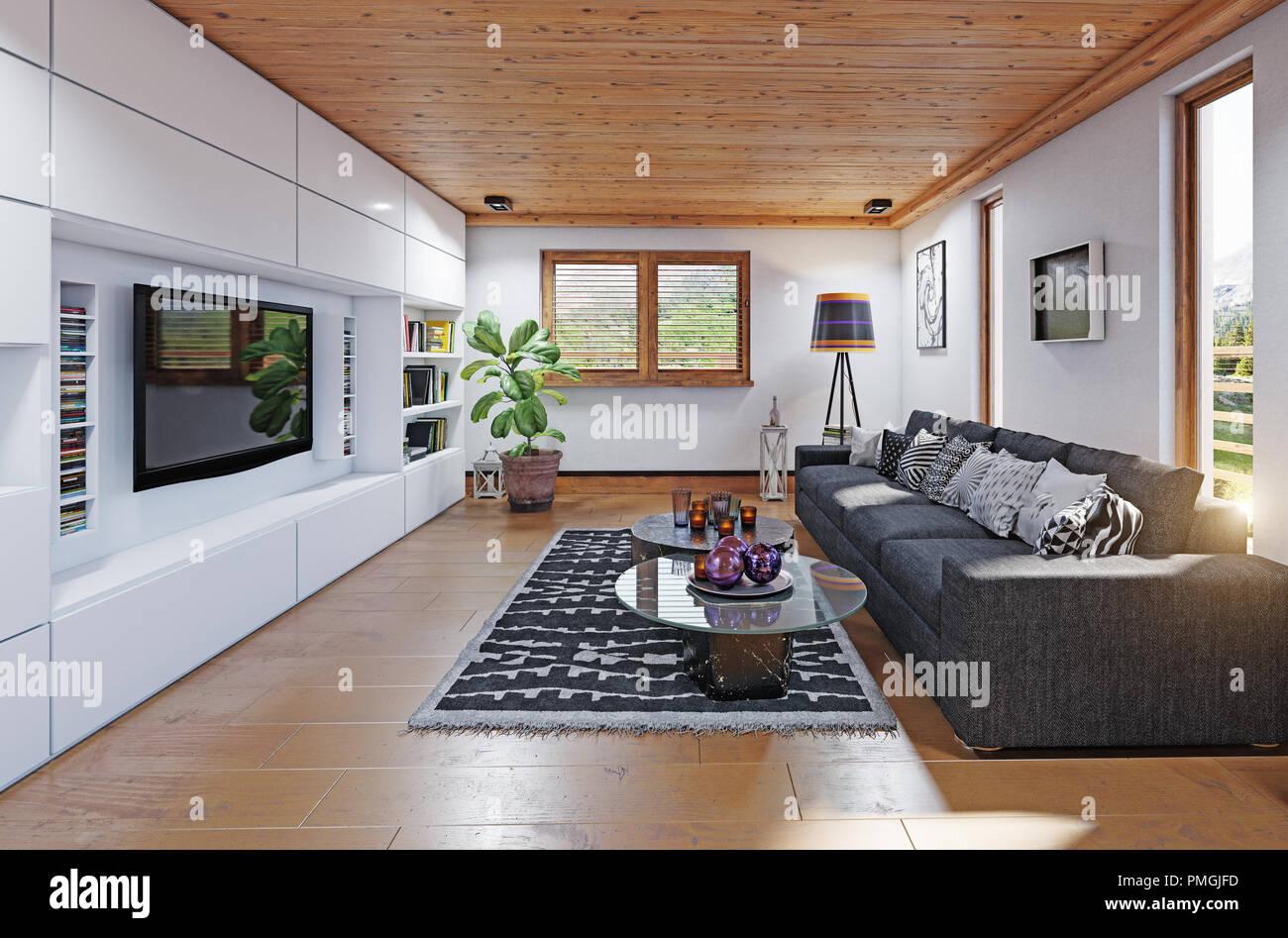 Chalet moderne salon intérieur. Le rendu 3D concept design Banque D ...
