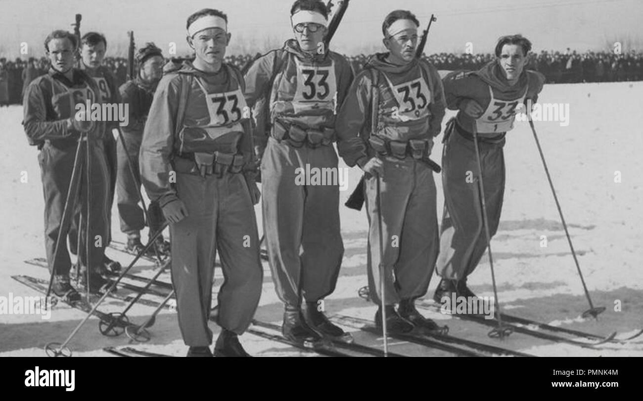 Bieg narciarski Zułów-Wilno (1938). Banque D'Images