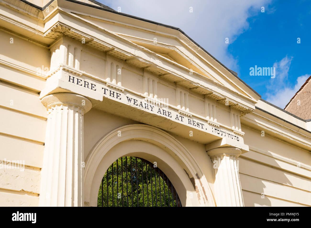 Kensington Road Liverpool Deane Cimetière ouvert 1837 restauré 2012 ici l'entrée de la Loterie Nationale à Las sont reste maire violoniste chirurgien Photo Stock