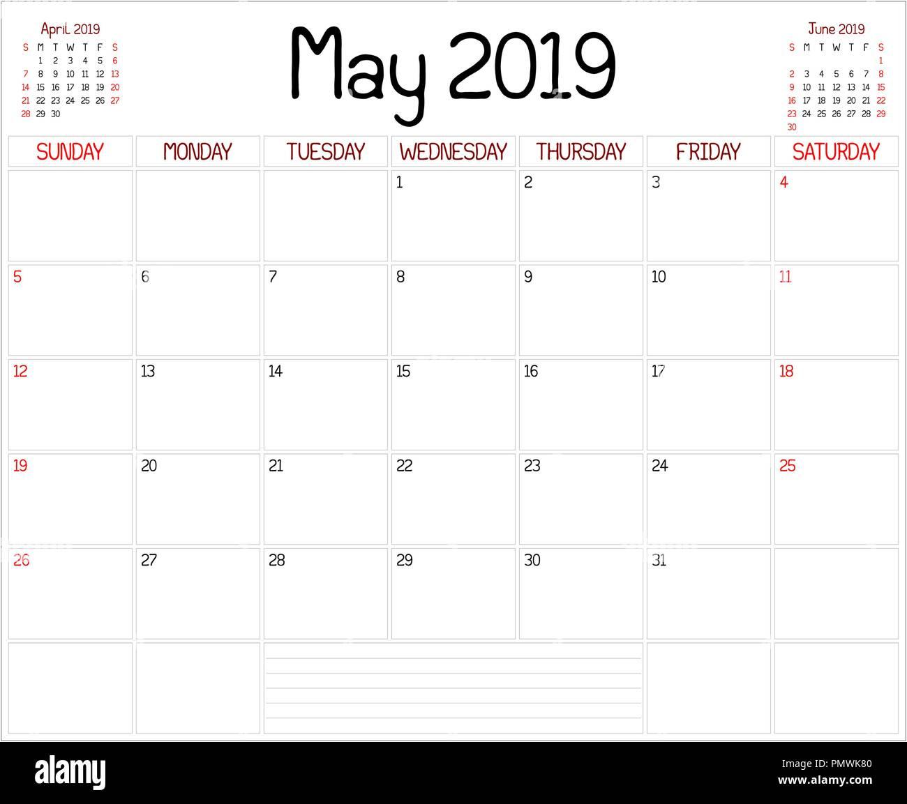 Calendrier Mai2019.Une Planification Mensuelle Calendrier Pour Mai 2019 Sur