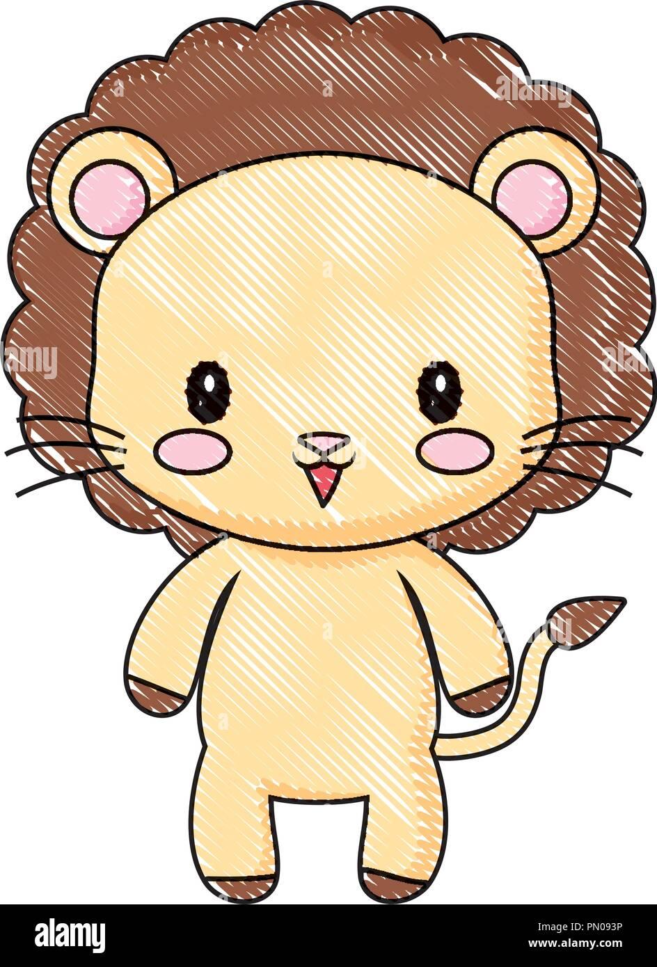 Cute Animal Lion Dessin Bébé Cartoon Vector Illustration Vecteurs Et