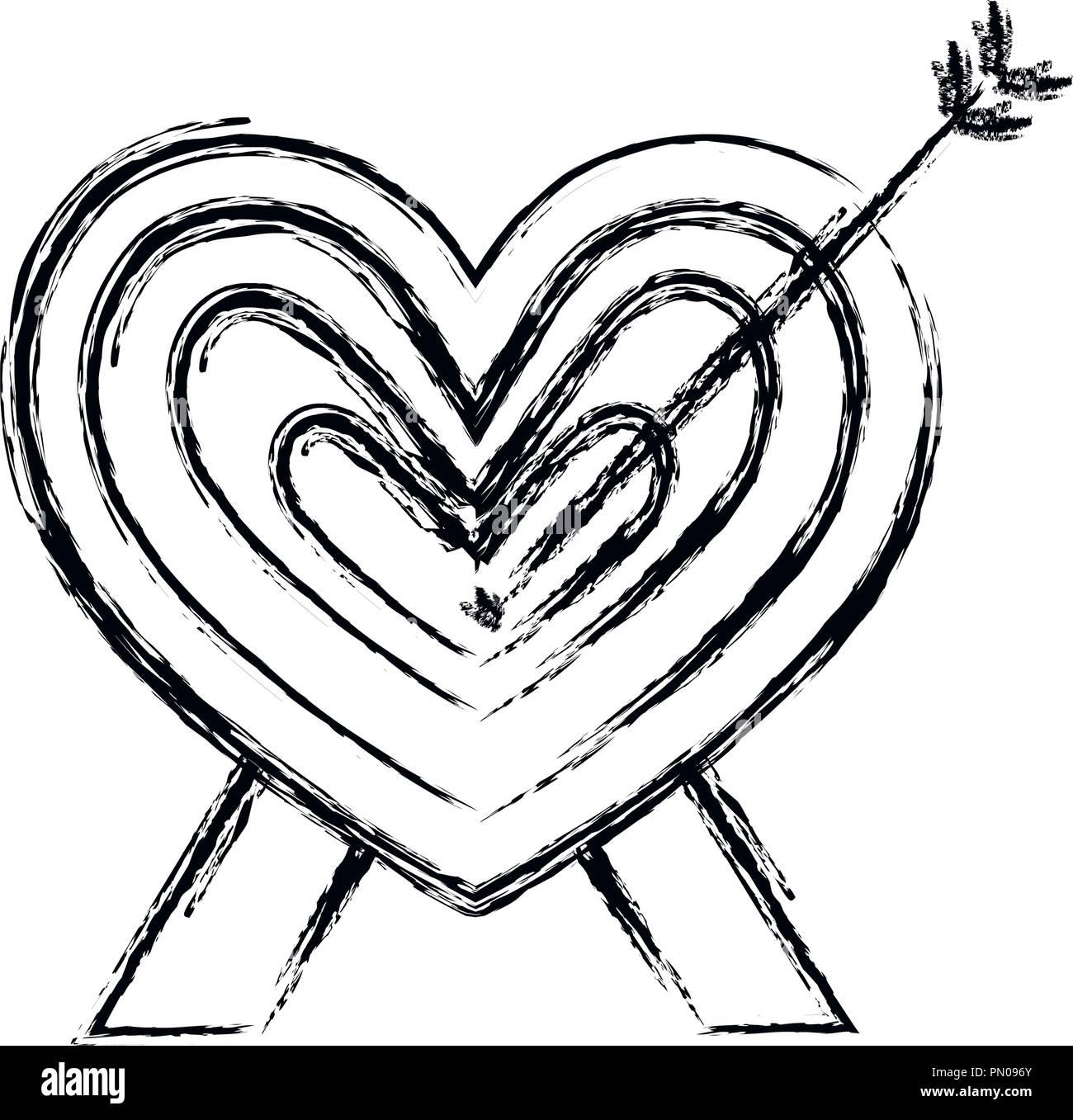 Cœur Amour Romantique Décoration Flèche Vector Illustration