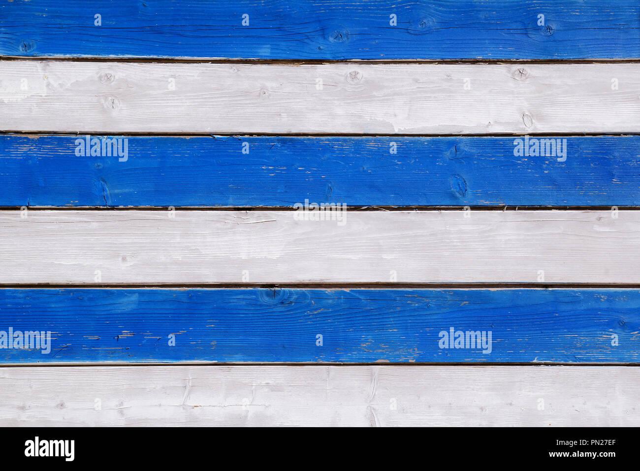 Partie De La Mur Blanc Bleu Planches En Bois Divers