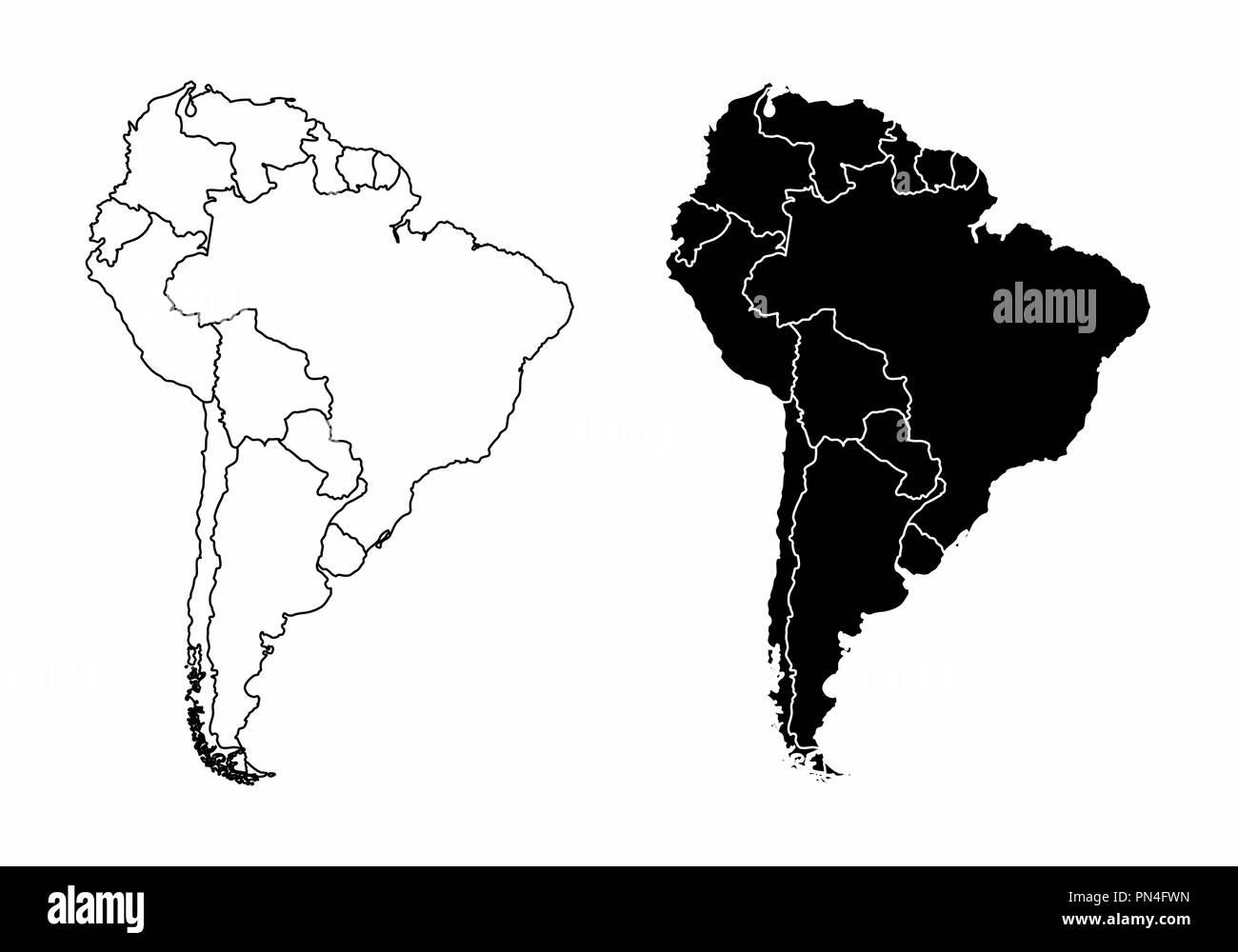 Carte Damerique Du Sud Avec Les Pays.Cartes De La Simplification De L Amerique Du Sud Avec Les Pays