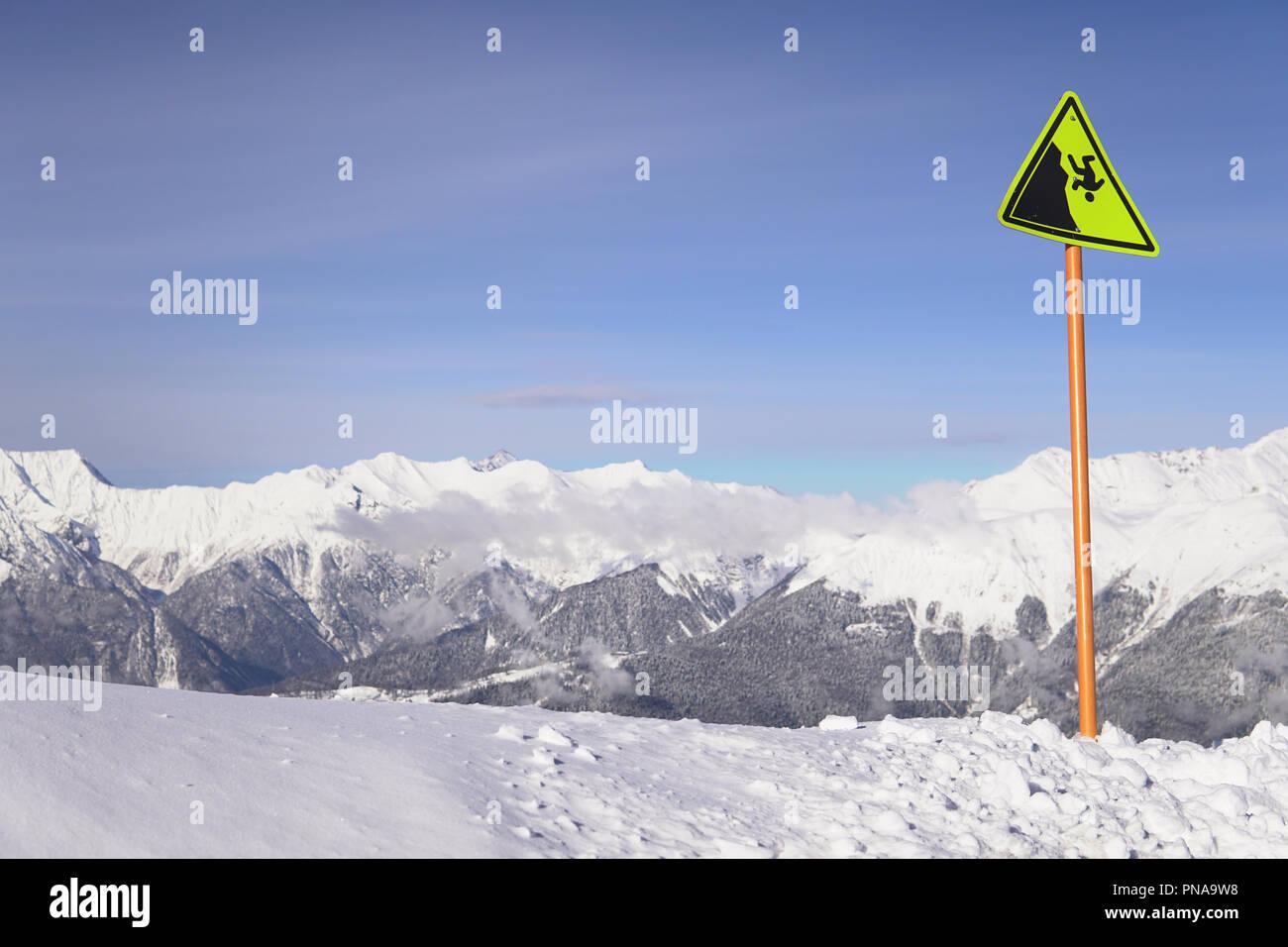Montagnes de neige Hauteur de ski inscription q Photo Stock