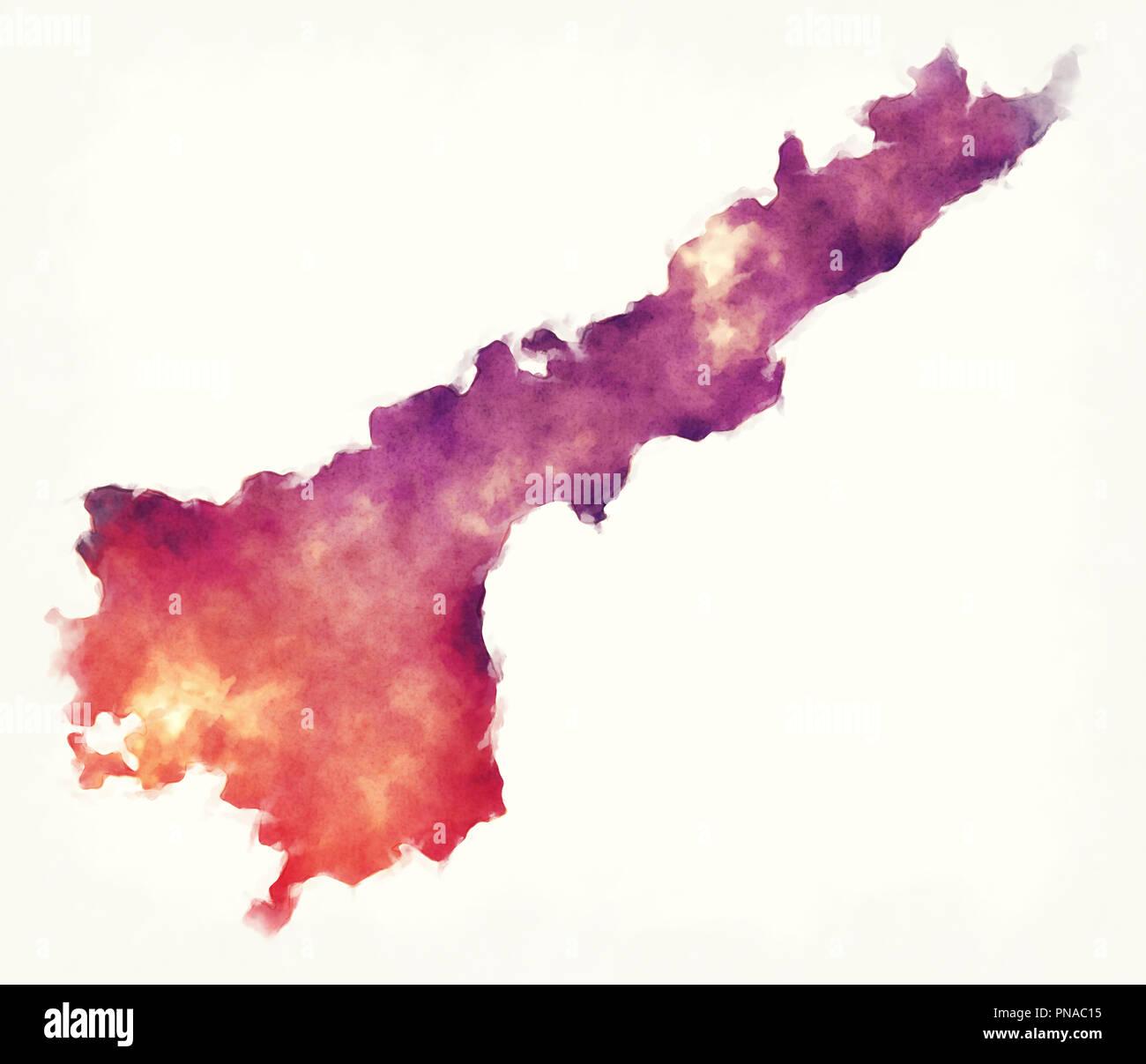L'Andhra Pradesh Etat fédéral aquarelle carte de l'Inde devant un fond blanc Photo Stock