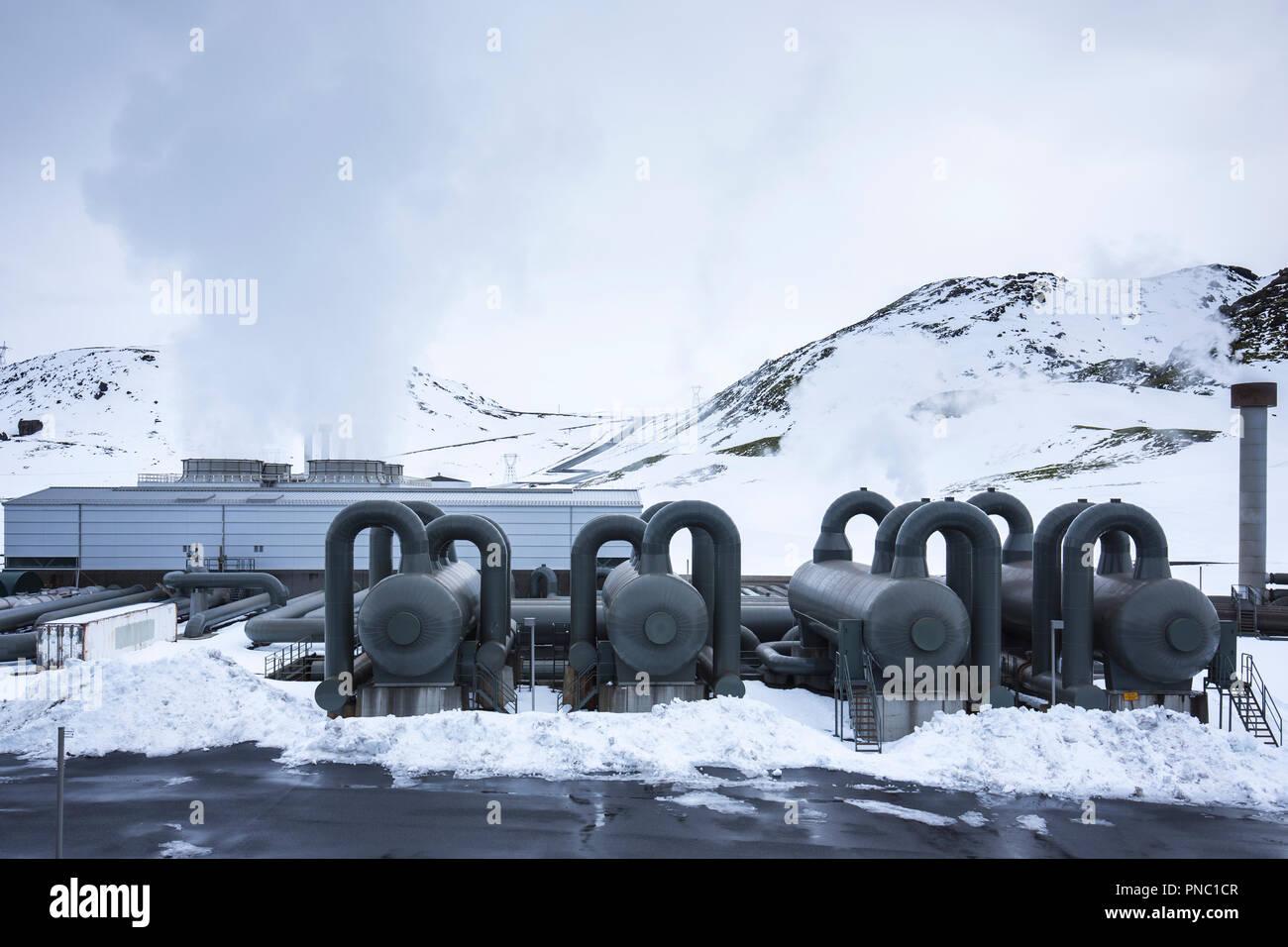 Séparateurs de vapeur à puissance Natturunn SUR Orka, l'énergie de la nature de l'Énergie verte Énergie renouvelable centrale géothermique, Reykjavik, Islande Du Sud Photo Stock