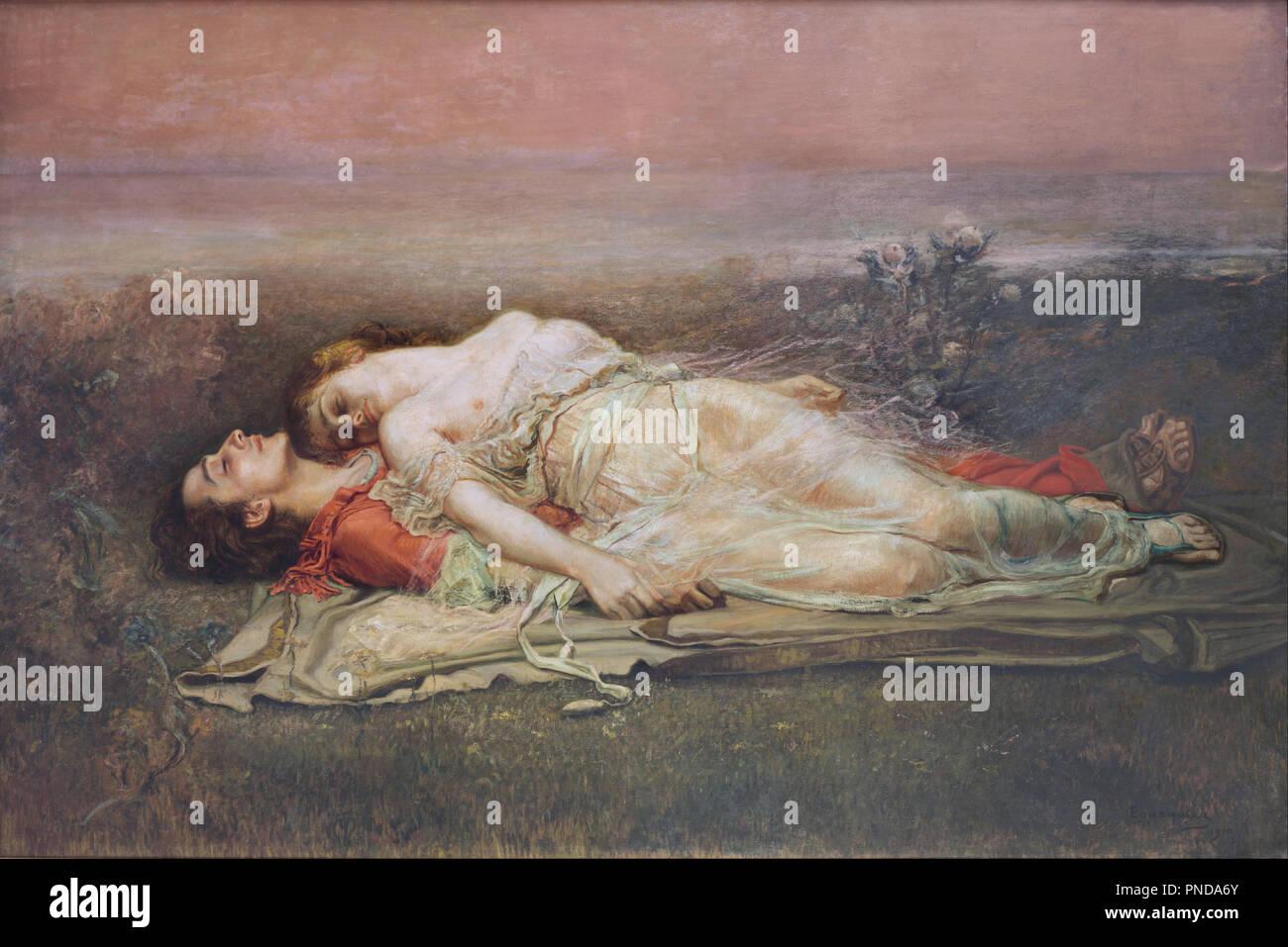 Tristán e Isolda (La muerte) / Tristan et Iseult (décès). Date/période : 1910. La peinture ...