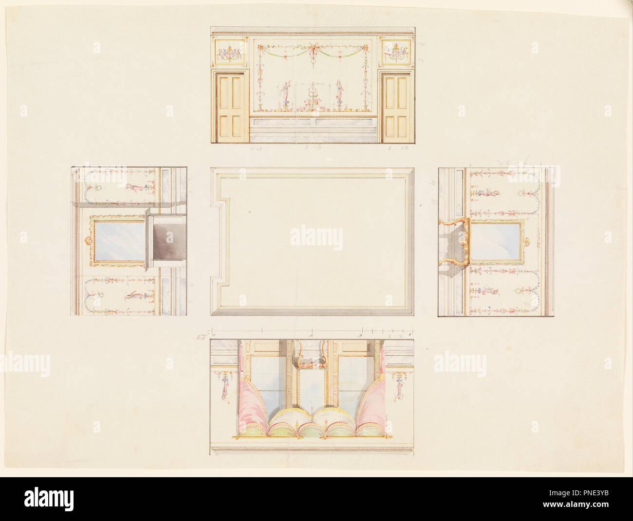 Conception Pour Plafond Et Murs De Chambre. Date/période : 1815 1822.  Dessin. Plume Et Encre Grise, Pinceau Et Aquarelle Sur Papier Vélin Blanc  Cassé.