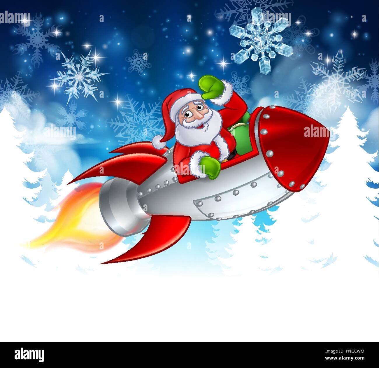 En Dessin Animé Noël Fusée Santa Vecteurs Et Illustration Image