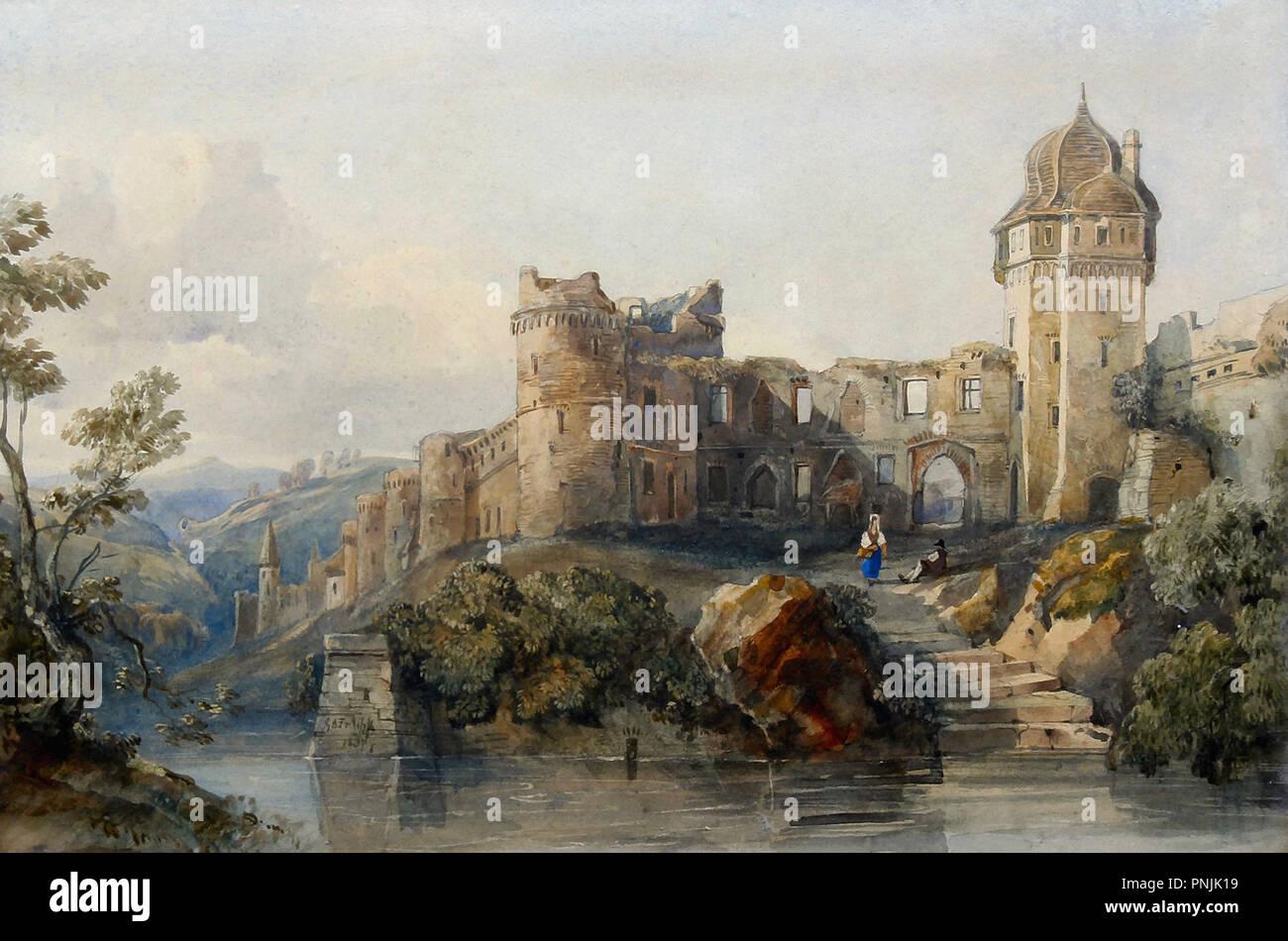 Fripp George Arthur - ruines de château par une rivière Photo Stock