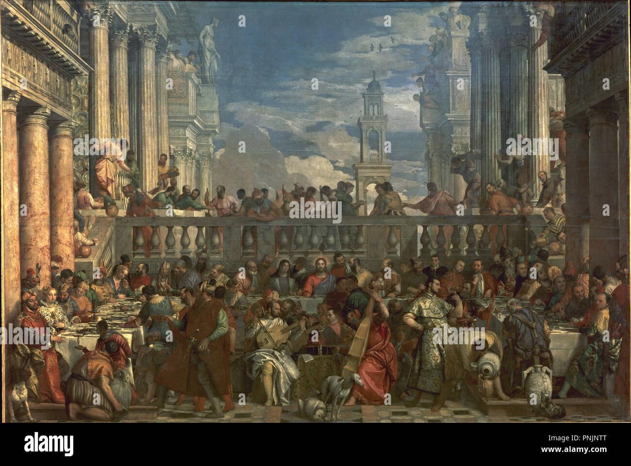 Les Noces De Cana 1563 Huile Sur Toile 677 994 Cm P00142 Auteur Veronese Paolo Lieu Musee Du Louvre Peintures La France Photo Stock Alamy